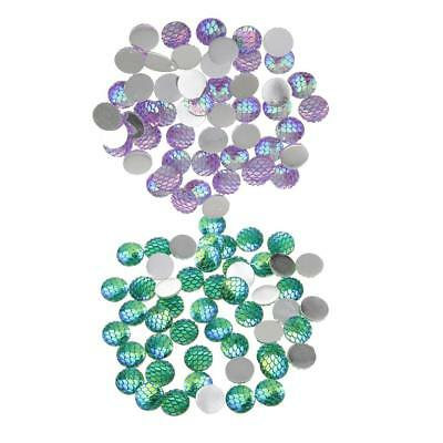100 Pcs Mixed Colors Fish Scale Resin Cabochon Round Shaped Flat back 12 mm