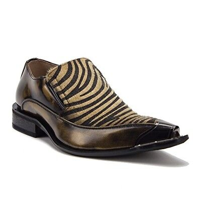 New Men's 15818 Leather Lined Zebra Print Pony Hair Metal Tip Loafers Shoes