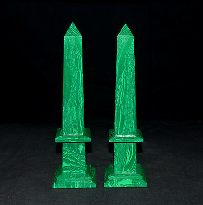 "Large 8.5"" Egyptian Malachite Crystal Healing Energy 4 Faceted Obelisk Tower Set"