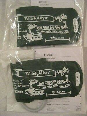 LOT OF 2 Welch Allyn Reusable BP Cuff Child 9 FlexiPort Reuse-09-1SC FREE SHIP