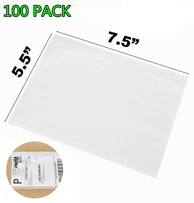 """100 7.5"""" x 5.5"""" Clear Adhesive Top Loading Packing List Labels Invoice Envelopes"""