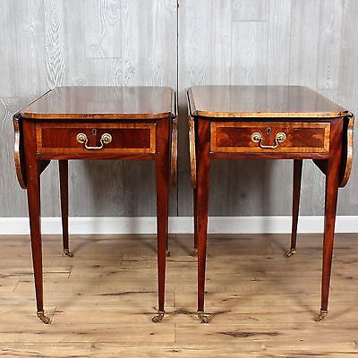 Pair of Banded Inlay Drop Leaf End Tables Front & Back Drawer