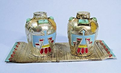 Minature Metal Navajo Jar Salt & Pepper Shakers Thunderbird Creation Parksmith