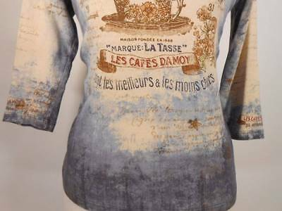 Beautiful Women's Large James J Vintage French Cafe Design 3/4 Sleeve Knit Top
