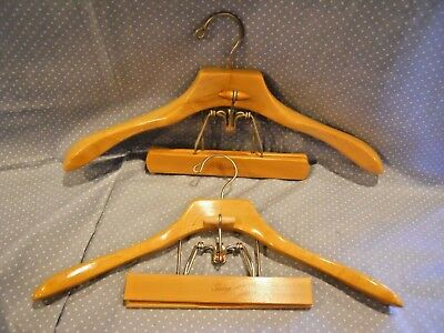 "VTG. 1 Setwell 20"" and 1 Sears 18"" Contour Suit Hangers jacket pants skirt Wood"
