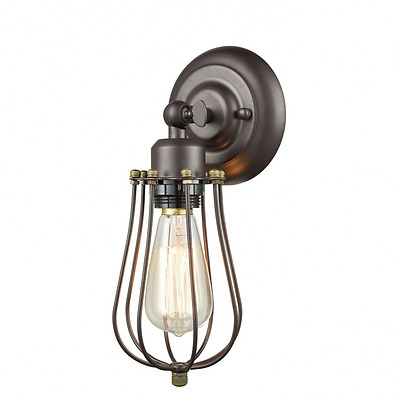 CLAXY Ecopower Vintage Style Industrial Oil Rubbed Bronze Mini Wire Cage Wall Sc