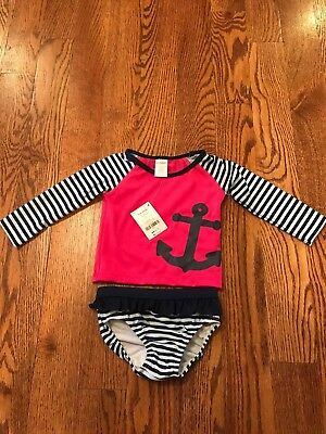 Gymboree Girls Sunscreen Swimwear Pink and Blue with Anchor NWT GYM20