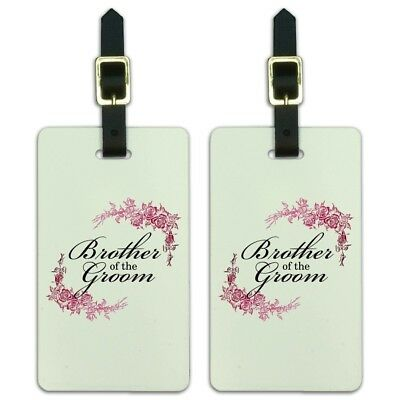 Wedding Floral Brother Of The Groom Luggage ID Tags Carry-On Cards - Set of 2