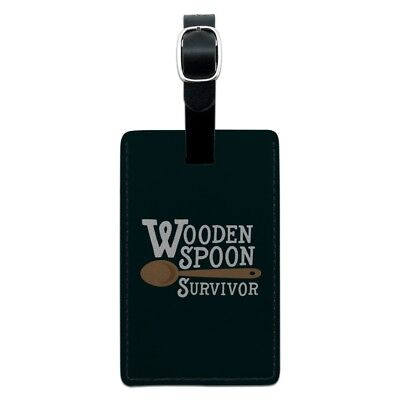 Wooden Spoon Survivor Funny Rectangle Leather Luggage Card Carry-On ID Tag