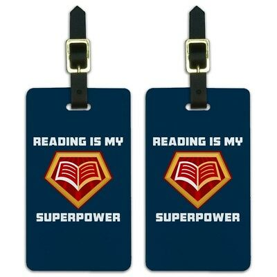 Reading Is My Superpower Luggage ID Tags Suitcase Carry-On Cards - Set of 2