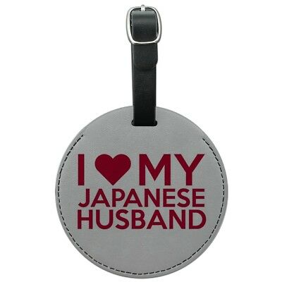 I Love My Japanese Husband Round Leather Luggage Card Suitcase Carry-On ID Tag