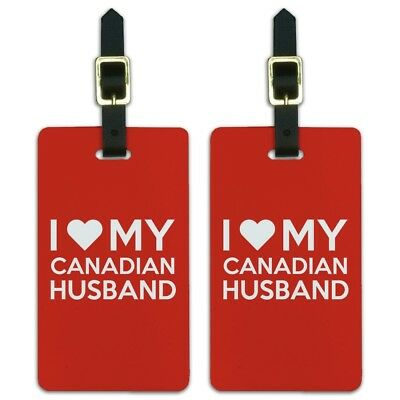 I Love My Canadian Husband Luggage ID Tags Suitcase Carry-On Cards - Set of 2