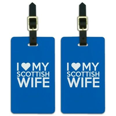I Love My Scottish Wife Luggage ID Tags Suitcase Carry-On Cards - Set of 2