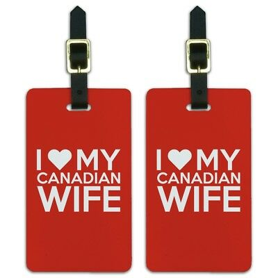 I Love My Canadian Wife Luggage ID Tags Suitcase Carry-On Cards - Set of 2