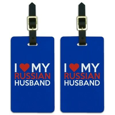 I Love My Russian Husband Luggage ID Tags Suitcase Carry-On Cards - Set of 2