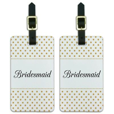 Bridesmaid Wedding Elegant Polka Dots Luggage ID Tags Carry-On Cards - Set of 2