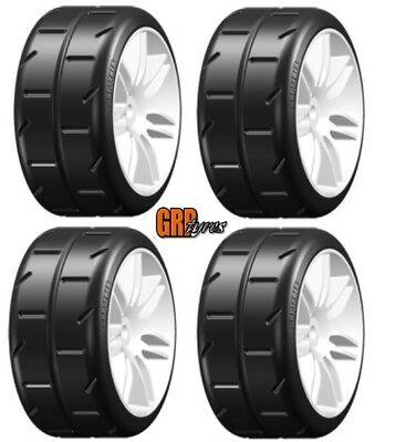 NEW GRP Mounted Belted Tires White S2 REVO 17mm 1/8 Buggy