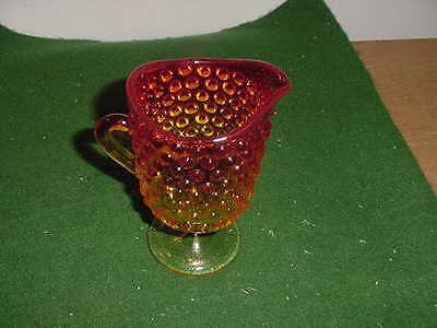 Vintage Amberina  Glass Hobnail 5 inch Footed Creamer