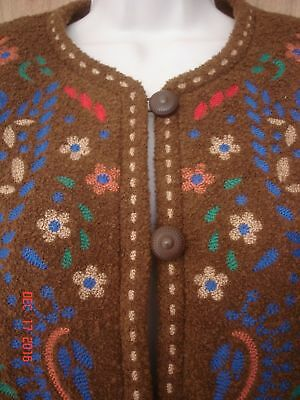 NEW  LINEA BY LOUIS DELL'OLIO  BROWN WOOL EMBROIDERED JACKET  M  medium