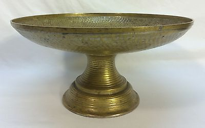 Antique Vintage Brass Signed Chinese Japanese Tazza Bowl Compote Display