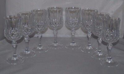 "Cristal d'Arques-Durand 7 1/4"" Tall 7 Oz Longchamp Crystal Wine Glasses set of 8"