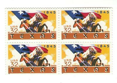 Texas Statehood 150th Anniversary 22 Year Mint US Postage Stamp Block from 1995