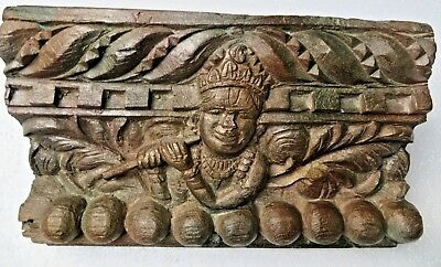 Architectural Carved Wood remanent reclaime wall decor God Krishna Rack 1900