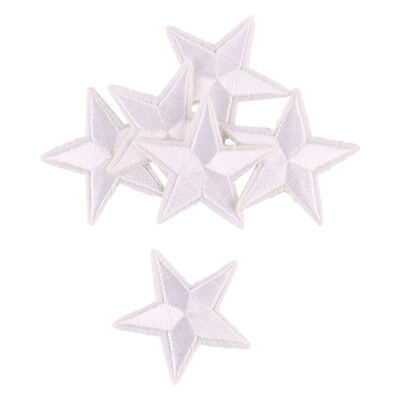 10pcs White Star Embroidered Iron ON Patch Jean Applique Badge 4x4CM