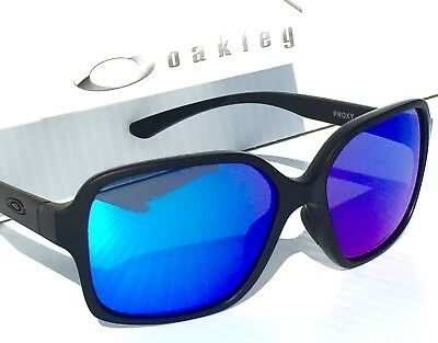 NEW* Oakley PROXY In Matte Black w Sapphire Blue Lens Women's Sunglass 9312-06