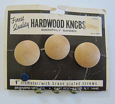 "VTG Hardwood Drawer Pulls Knobs with Brass Plated Screws on Card 1"" NOS"