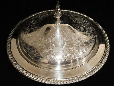 "Large Vintage Silverplate Engraved Covered Server, 14"" x 6"" w/ Flame Knob"