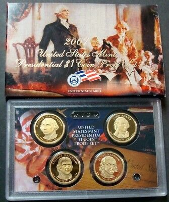 2007-S President Dollars Proof Set First Four One-Dollar Coins With Box/coa