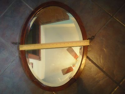 Large Original Vintage Maple Frame Oval Mirror Beveled Glass w/ Brass Hardware