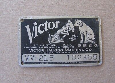 1904 Antique Victor Victrola Talking Machine Metal Name Plate Tag Style VV-215 j