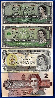 1954 1967 1973 1986 CANADA Canadian ONE + TWO 1 + 2 DOLLAR BILLS NOTES AU to UNC