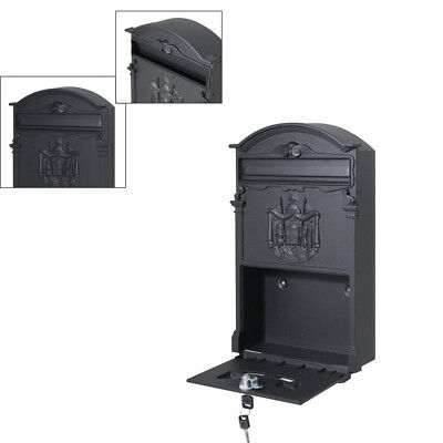 Wall Mounted Vintage Iron Mailbox Postal Storage Letter Box Security with 2 Keys