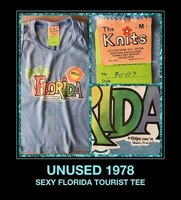 UNUSED! 70's FLORIDA Miami Kissimmee Disney Land World Tourist FL NOS T-Shirt