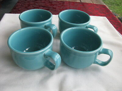 Set of 4 Homer Laughlin Fiesta Ware Large Coffee/Soup mugs, Turquoise Blue