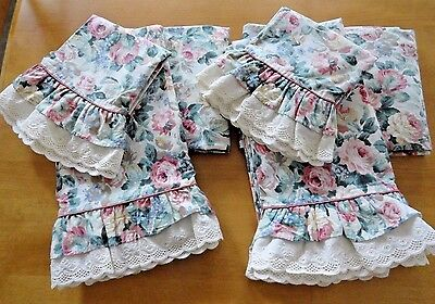 2 Sets Twin Croscill Chartwell Sheets Floral Roses Eyelet Lace Cottage Chic
