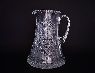 HEAVY 19th Century American Brilliant Period Elaborately Cut Glass Pitcher