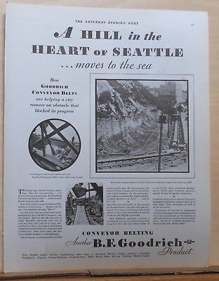 1930 magazine ad for Goodrich - conveyor belts at work on Denny Hill in Seattle