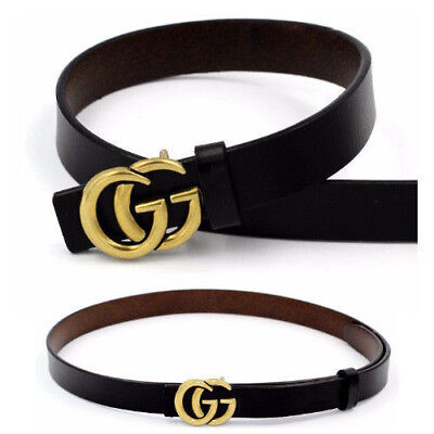 Women Genuine Leather Thin Belts Fashion Gucci Logo Pattern For Ladies Jeans 0.9