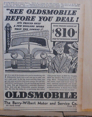 1940 newspaper ad for Oldsmobile - Olds Sixty, See Oldsmobile Before You Deal