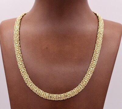 Mirrored Domed All Shiny Byzantine Link Chain Necklace Real 10K Yellow Gold