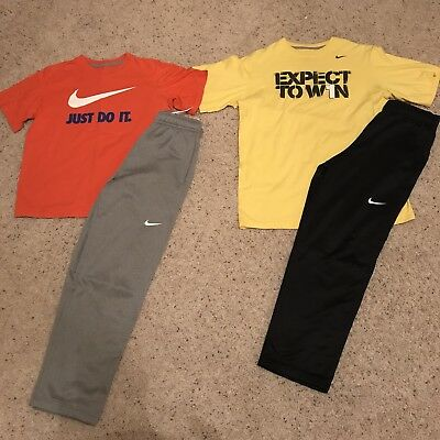 NIKE BOYS (L-XL) LOT OF 4 - 2 Therma-fit pants plus 2 shirts! Great condition!