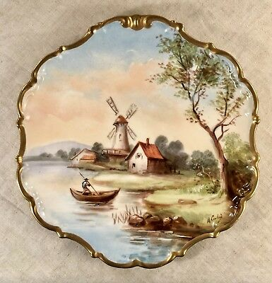 "Signed Handpainted Limoges Flambeau 9.75"" Plate Scenic France OUTSTANDING"