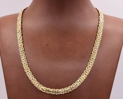 """16"""" 6mm Wide All Shiny Classic Byzantine Chain Necklace Real 14K Yellow Gold"""