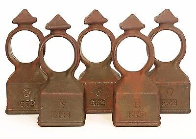 Antique Pennsylvania Cast Iron Pyramid Fence Post Finial Topper Lot of 5