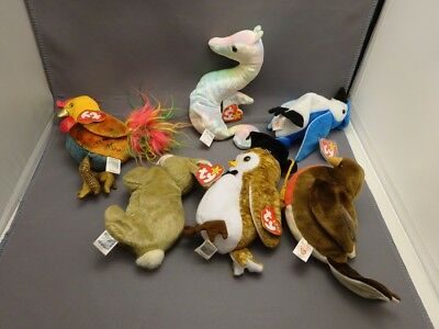 Ty Original Beanie Babies ROOSTER, NEON, ROCKET, NIBBLY, WISEST, EARLY