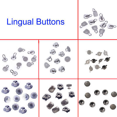 Dental Lingual Buttons Bondable Hook Round/Elliptical Mesh Base/Perforated/Cleat